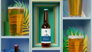 étiquette rouleau bouteille bière