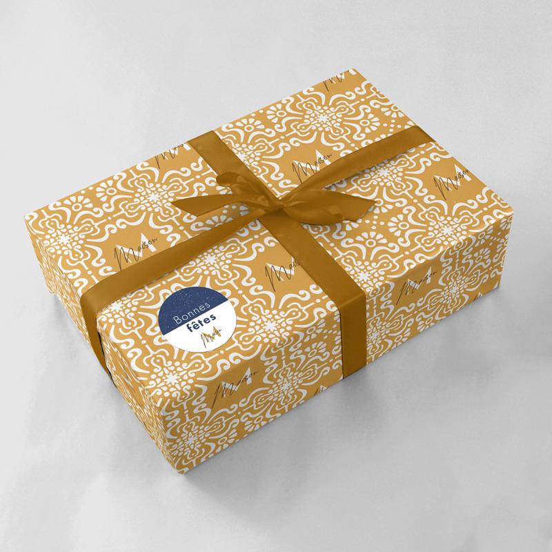 impression étiquette rouleau papier cadeau